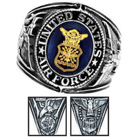 Official US Air Force Deluxe Engraved Silver Color Ring -Size