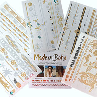 Beach Body Collection Metallic Tattoos Gold and Silver Flash By Modern Boho