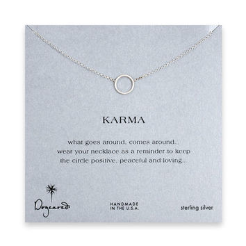 simple karma necklace, sterling silver - 18 inches