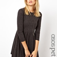 ASOS PETITE Exclusive Textured Skater Dress With Long Sleeves