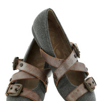 Strappy Hour Flat in Pewter | Mod Retro Vintage Flats | ModCloth.com