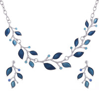 Duftgold New Fashion Leaves Enamel Jewelry Set Choker Leaf Necklace Earrings Branch Crystal Jewelry Sets Silver Plated 2 pcs