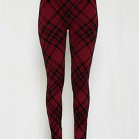 Heed Your Warming Leggings in Crimson Plaid
