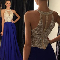 Free Shipping Navy Blue Halter Prom Dresses Sexy Sheer Corset Long Party Backless Prom Dress With Crystal