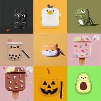 Ice Cream 3D Earphone Case for AirPods Case Cover Silicone Dragon Unicorn Cartoon Headphone Cover Case for AirPods Charging Box