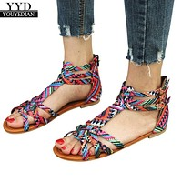 Women Shoes Bohemia Sandals Ethnic Style Sandals Flats Shoes Buckle Strap