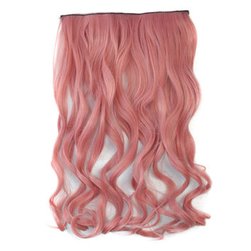 Colorful 5 Cards Wig Hair Extension    smog pink 5C-2312#