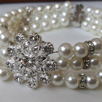 Wedding Ivory Pearl Bracelets Jewelry Accessory with Swarovski Flower and Magnet Claps. Athens Sun.