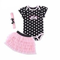 Baby girl clothes summer newborn infant clothing Set Baby Girl Sets Romper+Skirt+Headband baby tracksuit birthday outfits