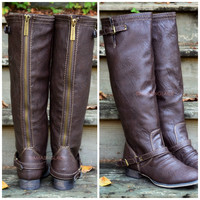 SZ 5.5 Montana Maple Light Brown Strap Riding Boots