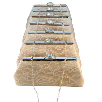 Set of Seven Champagne, Blush Pink Lace and Aqua Blue Bridesmaid Gift Clutches 5% Off