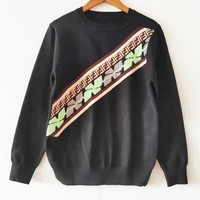 FENDI Trending Men Women Jacquard Casual Long Sleeve Knit Sweater Sweatshirt Top