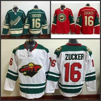 Youth Minnesota Wild 16 Jason Zucker kids Hockey Jerseys Authentic Team Color Green White Red Jersey stitched S-3XL