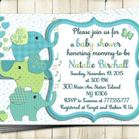 Teal green elephant Baby shower printable invitation baby boy digital invite personalized invitation party invite DIY birthday card