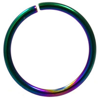 """Annealed(Bendable) Basic Rainbow PVD/Stainless Steel Nose Ring Hoop - 20G 5/16"""""""