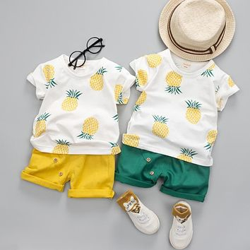 Boys Pineapple Graphic Shirt with Yellow or Green Shorts Set Toddler Boy Outfits
