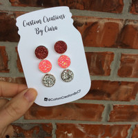Valentines Day Druzy Earring Set, 12 mm Pink, Red, Silver Earrings, Faux Druzy Earring, Druzy Earrings , Stone Jewelry, Boutique, Stud