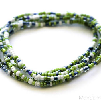 Set of Five Seed Bead Stretch Bracelets in Green White and Blue, Stretchy Jewelry, Unisex Beach Jewelry, Summer Gift