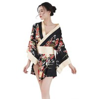 Sexy Women Satin Floral Printed Japanese Kimono Nighties Short Bath Robe Sleepwear