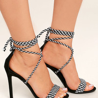 Kensey Black Lace-Up Heels