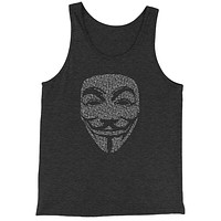 V For Vendetta Anonymous Mask Jersey Tank Top for Men