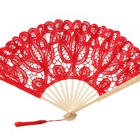 The 1 For U Women's Cotton Lace Fan Ivory/Cream, White, Pink, Blue, Purple, Red