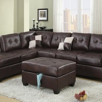 2 pc Reversible Espresso leather like vinyl sectional sofa with chaise lounge with rounded top arms and tufted back and seats