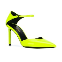 Neon Yellow Patent Leather Strap Heels by Saint Laurent