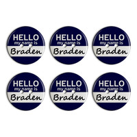 Braden Hello My Name Is Plastic Resin Button Set of 6