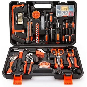 102PCS Home Improvement Tool Kit,  with Plastic Blow Molded Tool Box Storage.