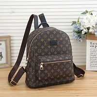 LV Louis Vuitton canvas men's and women's casual all-match backpack