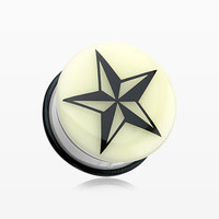 zzz-A Pair of Glow in the Dark Nautical Star Single Flared Ear Gauge Plug