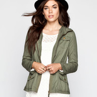 Ashley Womens Hooded Anorak Jacket Olive  In Sizes