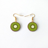 Gourmand CD recycled Earrings : Kiwi slices - by Savousepate