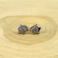 Sterling Silver Fish Stud Earrings with Cubic Zirconia