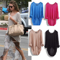 New Batwing Womens Ladies Casual Loose Asymmetric Knit Coat Top Sweater