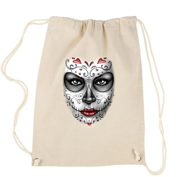 Large Day Of The Dead Face Drawstring Backpack