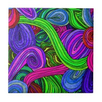 Psychedelic Lines (Green) Tile