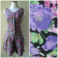 Floral Print Shorts Romper Vintage 90s Purple and Pink Flower Jumpsuit Size S/M Smal Medium Button Down Up Front V Cutout Back Boho Playsuit