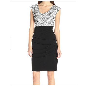 Connected Apparel Black White Lace Sequin 10 Tiered Sheath Dress