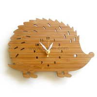 Cute Hedgehog Bamboo Wall Decoration Clock