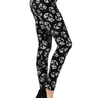Black & White Skulls Printed Leggings