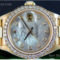 Rolex - Ladies 18kt Gold Mother Of Pearl Full Diamond President 79138 SANT BLANC