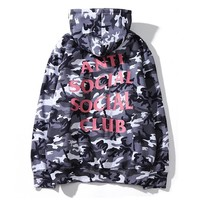 """Anti Social Social Club""Autumn Winter Popular Women Men Casual Print Grey Camouflage Hooded Sweater Top Sweatshirt"