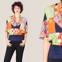 80s Colorful Check & Floral Blouse / Boxy Fit Wide Elastic Waist Versace Look Alike Print Blouse / Avant Garde Baroque Small S Blouse