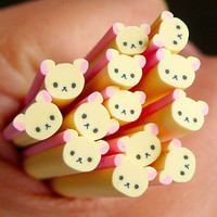 Bear Polymer Clay Cane Animal Fimo Cane Kawaii by MiniatureSweet