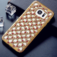 For Samsung Galaxy J3 J5 J7 2016 S7 Edge S6 A3 A5 A7 Grand Prime Plating Case Cover Soft TPU Flower Diamond Hollow Cases Shell