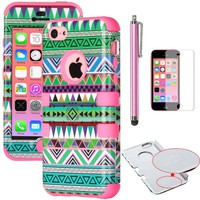 iPhone 5C Case, ULAK Hybrid High Impact Tribal Soft TPU Shock Absorbing + Hard PC Case Cover for Apple iPhone 5C with Screen Protector and Stylus (Green/Pink)