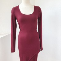 AMALLY RIBBED  DRESS- BURGUNDY