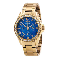 Fossil ES3569 Women's Riley Multifunction Blue Dial Rose Gold Steel Watch